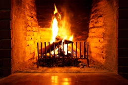 wood in fireplace
