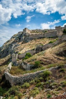 The acrocorinth fortress overlooking the ancient city of Corinth, Greece.